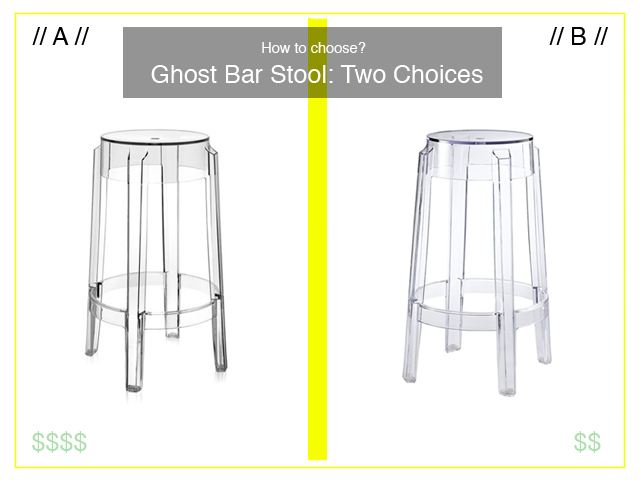The Tale of Two…in Design | Two Ghost Bar Stools :: Two Materials