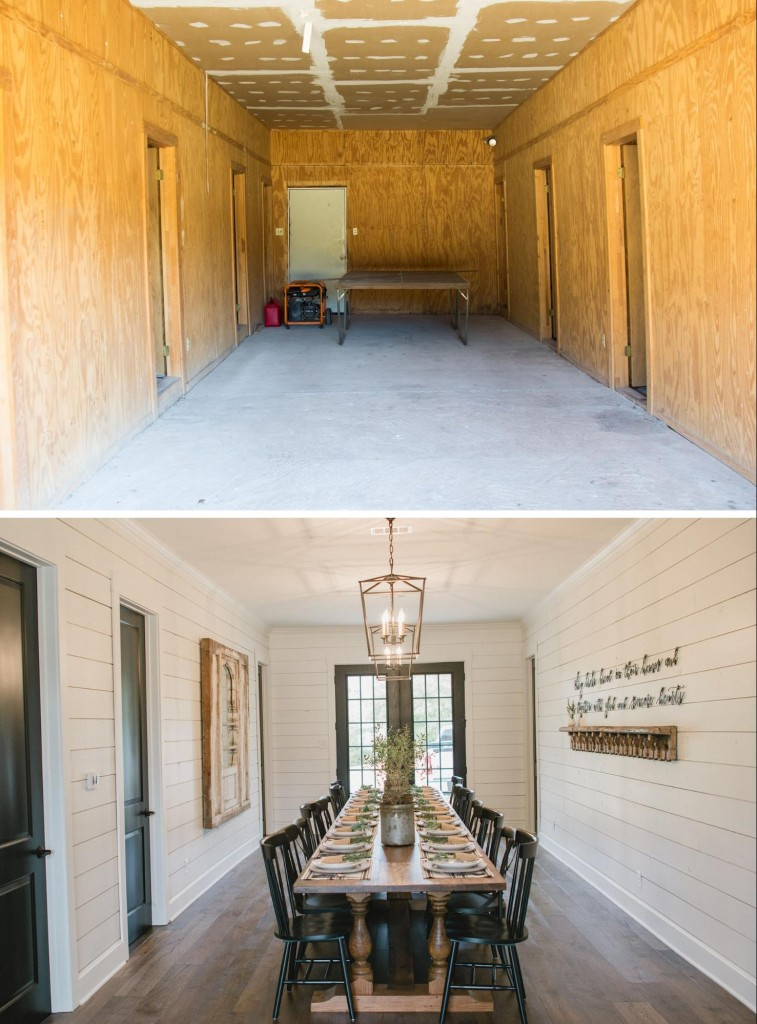 Renovation. Before and After Dining Room